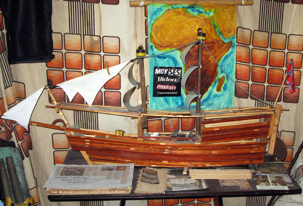 Model ship made from scrap wood.