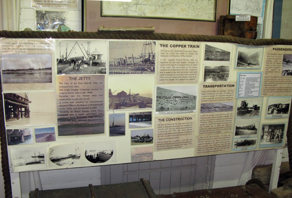 Information about the old copper train and building of the jety.