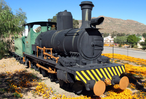 Clara, a narrow-gauge steam locamotive used to rail copper ore to Port Nolloth.