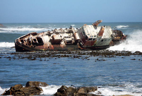 A wreck in the harbour area.