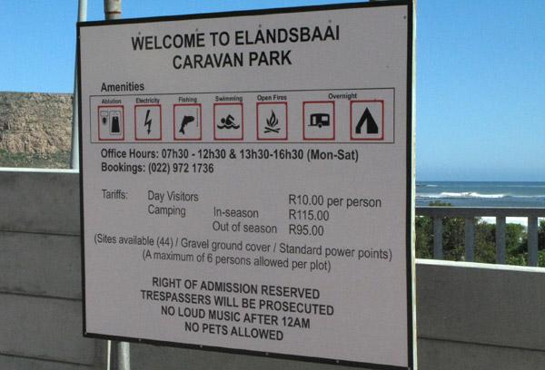 Elands Bay Caravan Park.