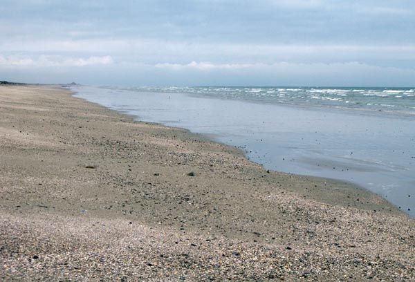 The beaches go on for miles north and south of the town.