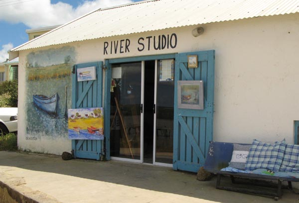 The studio of Marina Clunie right at the rivers edge.
