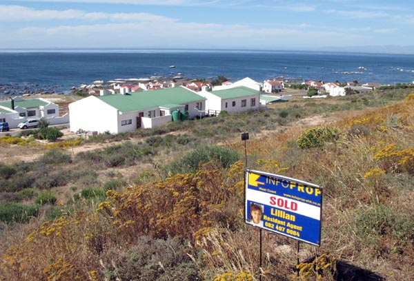 Plots for sale overlooking the bay at St Helena Bay.
