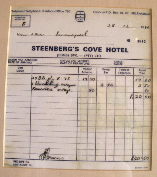 An invoice for a room, bar and breakfast from a bygone era.