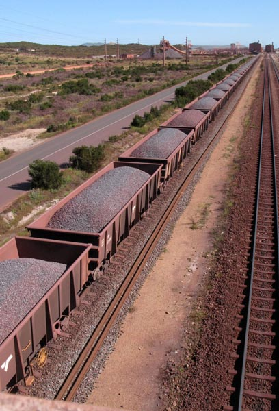 On my way back to Langebaan I saw these iron ore railway trucks waiting to be off loaded.