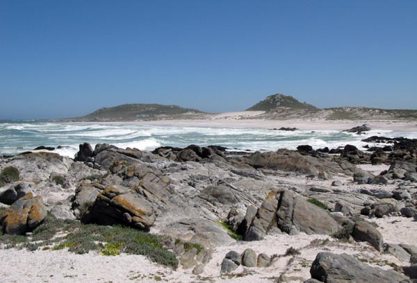 As with much of the west coast - rough seas and rocky shoreline.