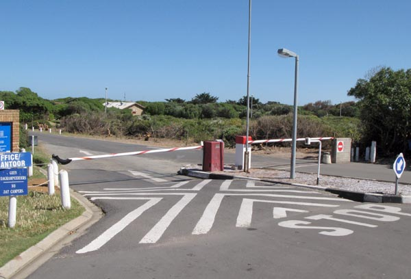 Security entrance to Yzerfontein Caravan Park.