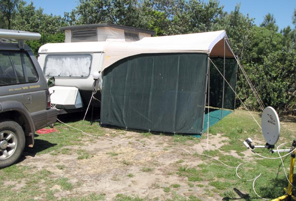 My set up at Ou Skip. To be honest most of the other sites had a better grass covering than mine.