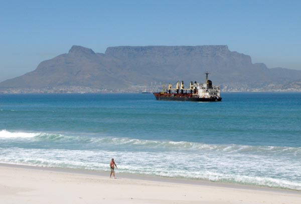 A final shot from Table Tiew of Table Mountain and the wreck of the bulk carrier Seli  which went aground just off Table  View beach in a gale on the 8th September 2009.