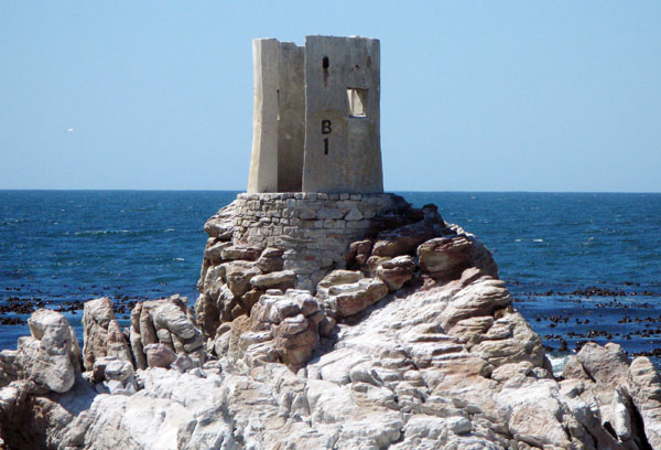 The old concrete tower that housed the light to guide the boats into Stony Pint Harbour.
