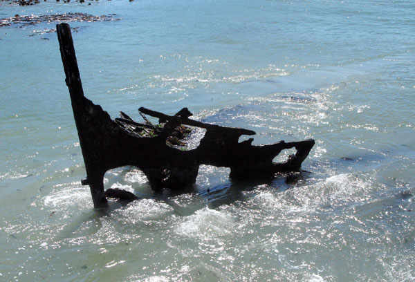"""All that is left of the """"Una"""" which was built in 1890 and was scuttled here to form part of the jetty."""