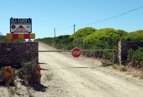 End of the road - turn right to the beach.