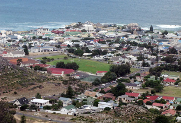 View of Hermanus looking toward the centre of town.