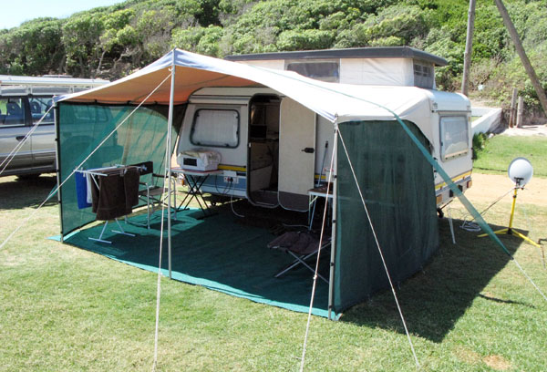 My set-up at Gaansbaai. Nicely grassed and even stands.